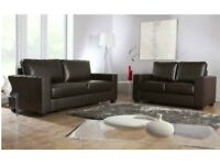 Best Selling Brand - Brand New Faux Leather Box 3 seater and 2 Seater Sofa / Settee / Couch