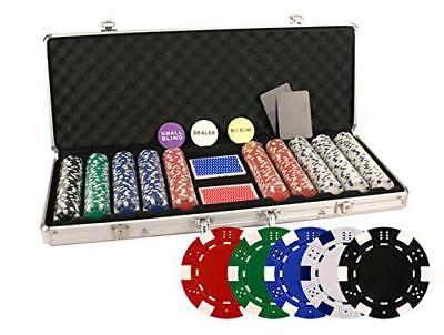 Da Vinci 500 Piece 11.5 Gram Poker Chip Set w/Case & Cards (Dice Striped)