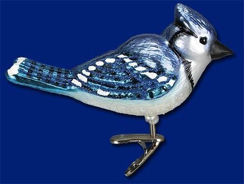 BRIGHT BLUE JAY GLASS BIRD OLD WORLD CHRISTMAS BIRD WATCHER ORNAMENT NWT 18080