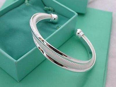 US 925 Sterling Silver Cuff Bracelet Bangle Chain Wristband Women Jewelry