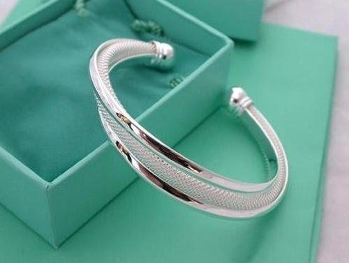 Bracelet - US 925 Sterling Silver Cuff Bracelet Bangle Chain Wristband Women Jewelry