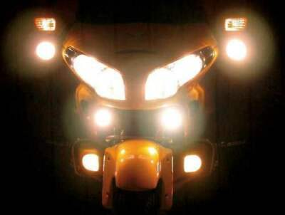 LED Chrome Auxiliary Flood Lights Lamps Kit for Honda Goldwing (all years)