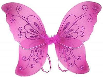 Sparkling Fuchsia Fantasy Butterfly Fairy Wings Tinkerbell Kid Costume Accessory