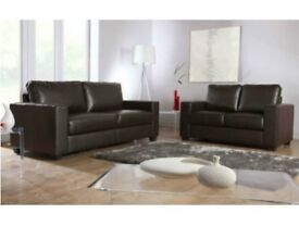 BEST BUY GUARANTEED! BRAND NEW 3+2 LEATHER SOFA IN BLACK OR EVEN CHOCOLATE BROWN + DELIVERY