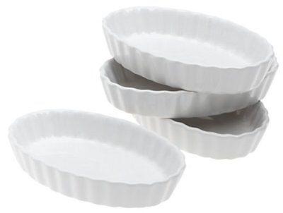 Porcelain Creme Brulee Set 4 Piece Dishes White Oval Dessert Home Kitchen (Creme Brule Dessert)