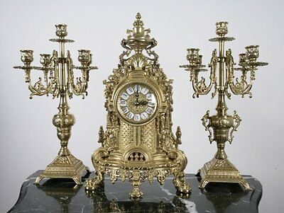 Solid Brass Baroque Mantel Clock & Candelabra ...