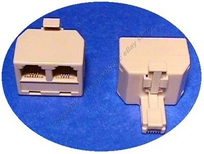 Lot100 RJ11 2way/jack/port Y cable/cord/wire Splitter,Phone/Telephone 6P4C{IVORY