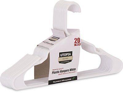 Plastic Hangers 20-Pack Standard White - by Utopia Home (White)