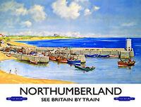 Northumberland Muelle Costero,playa Bahía,british Railways,grande De Metal/ -  - ebay.es
