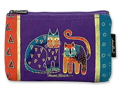 New LAUREL BURCH Cosmetic Bag PURPLE GREEN CATS Kitten Makeup Case Pouch Purse