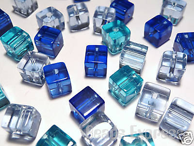 (100pc Quality Glass Crystal Mini Small Cube Beads - Blue Mix 4mm (BC4022))