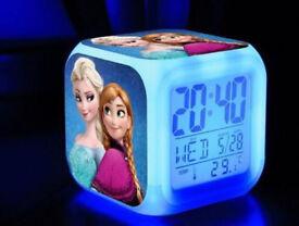 6 x FROZEN LED LCD DIGITAL ALARM CLOCKS MOOD LIGHT 7 LIGHT COLOUR ANNA & ELSA.**