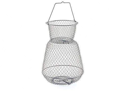 """South Bend 13"""" Round Wire Fish Basket with Top & Bottom Trap Doors #B666"""