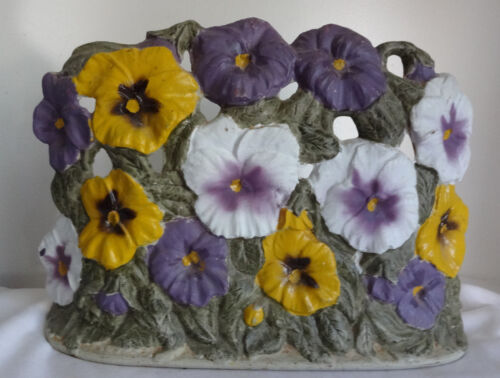 Vintage Signed Cast Iron Flowers Pansies Huge Doorstop Door Stop