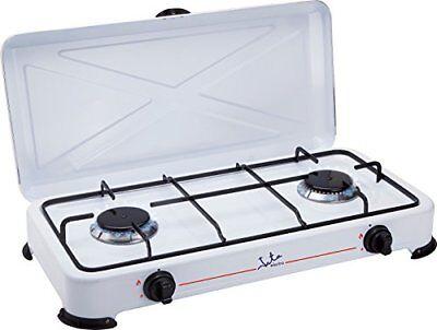 Cocina de Gas Jata CC705 Esmaltado Blanco Hornillo 2 Fuegos Ideal Camping