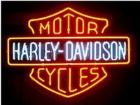 HARLEY DAVIDSON Motorcycle Real Glass Neon Light Bar Sign
