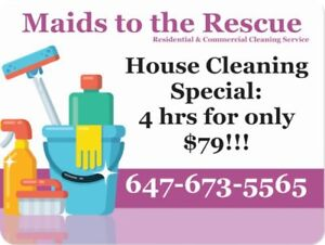 Great House Cleaning Special: 4 hrs for only $79!!!  Call us.