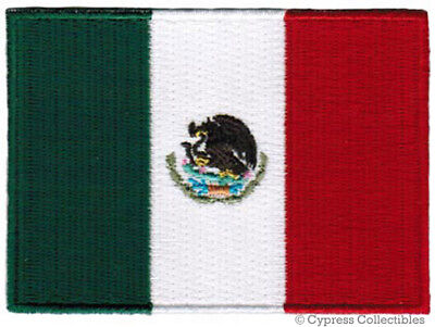 MEXICO FLAG embroidered iron-on PATCH MEXICAN EMBLEM applique NATIONAL (Applique Embroidered Flag)