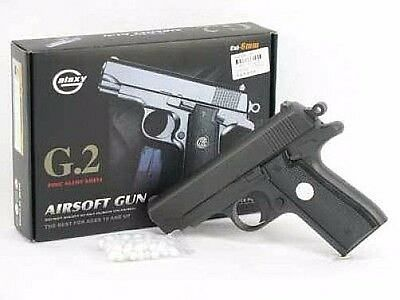 "New 6.5""  METAL G2 Airsoft Pistol Hand Gun w/ BBs 200fps Air Soft Black Heavy"