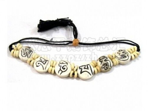 Big Adjustable Tibetan Carved OM Mani Padme Hum Yak Bone Beaded Amulet Bracelet