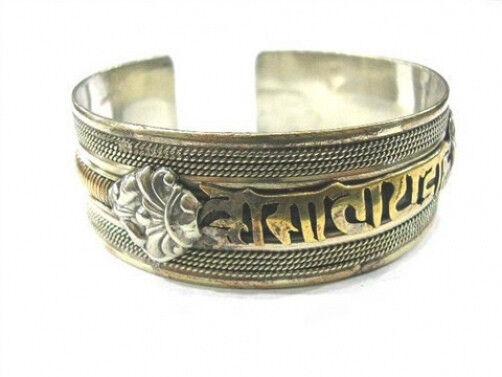 Huge Tibetan Copper Bodhi Weaving Mantra OM Mani Padme Hum Dorje Cuff Bracelet