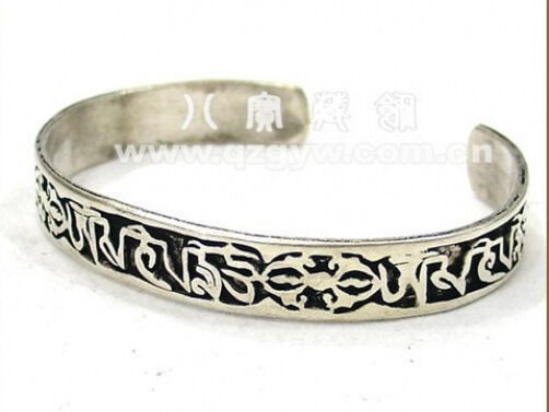 Solid Tibetan Carved Mantra OM Mani Padme Hum Double Dorje Amulet Cuff Bracelet
