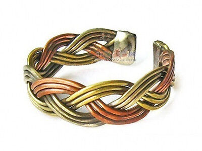 Adjustable Tibetan Delicately Braided 3-color Copper Amulet Ring