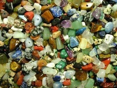 250 Mixed Genuine Gemstone Chip Beads!