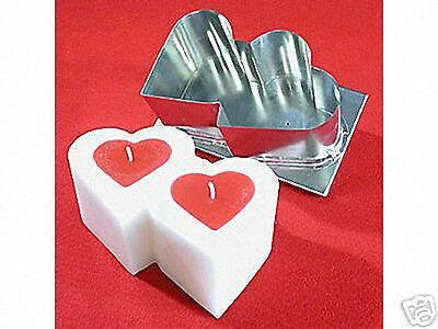 DOUBLE HEART Candle Mold (4-3/4 inches x 8 inches  x 3-1/2 inches Tall)