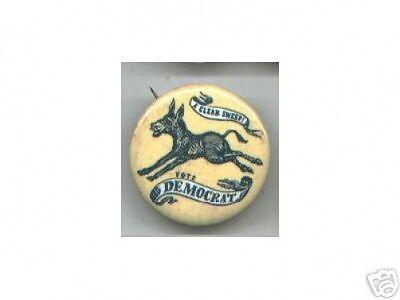 24 super old pin DONKEY logo vote DEMOCRAT from 1967