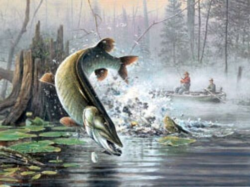 Scott Zoellick S/N Musky fishing print-Good Ol Days Art Print 22 x 16