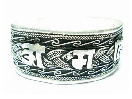 Huge Tibetan Filigree Braided Carved Spaced OM Mani Padme Hum Cuff Bracelet