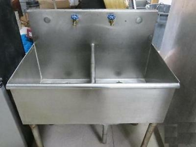 Stainless Steel Utility Sink Self Free Standing Pedestal Double Bowl Laundry
