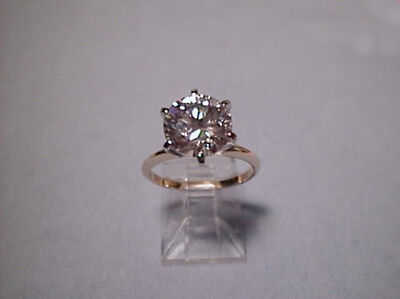 CZ Cubic Zirconia Solitaire Ring 3 Carat 6 prong 14K Yellow Gold