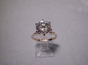 CZ Cubic Zirconia Solitaire Ring 3 Carat 6 prong 14K Yellow Gold, SIGNITY CZ