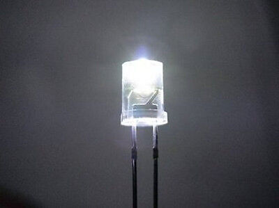 20 WHITE 5mm INVERTED CONE LEDS LIGHT S SCALE BUILDINGS FREE RESISTORS FOR 12 V