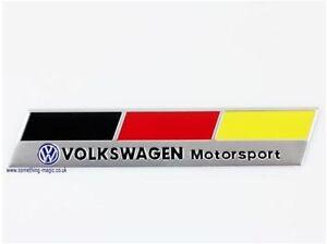 Brushed Aluminium VW German Flag Motor Sport Badge