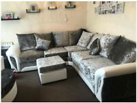 FREE FOOTSTOOL with Velvet corner sofa