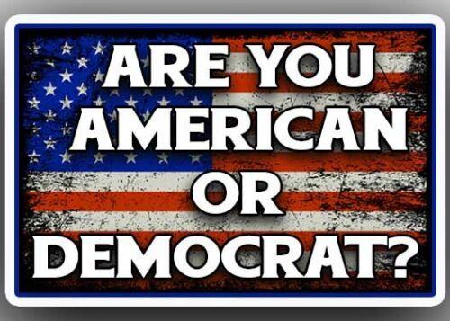 """ARE YOU AN AMERICAN OR A DEMOCRAT?"" Anti Liberal TRUMP STICKER pro gun rights"