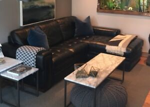 Black genuine leather sectional with chaise end