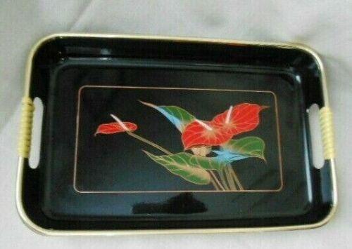Vintage Japanese Serving Tray Black Lacquer Gold Anthuriums Floral Design 10.5x7