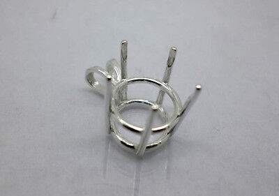 Sterling Silver Pendant Mounting (9mm - 15 mm Round Pre-Notched Sterling Silver 5-Prong Pendant Basket)