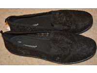 New Womens BLACK LACE Loafers Flat Trainers balerines Shoes size 8 42
