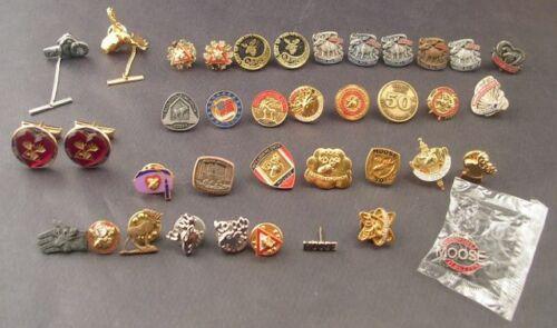 Lot Of 34 Moose Club Lodge Pin Pins Plus  Tie Tacks Cuff Links Fraternal Order