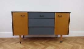 Mid Century sideboard, dressing table upcycled and painted Grey