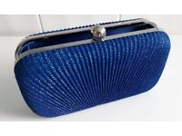 Blue Clutch Bag and Blue dress shoes.
