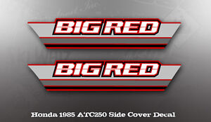 HONDA-1985-ATC250-BIG-RED-SIDE-COVER-DECAL-LIKE-NOS-OEM-GRAPHICS