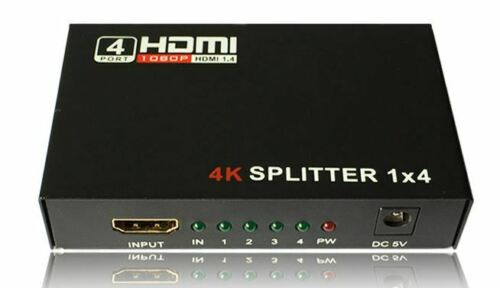 HDMI Splitter 1 in 4 out Full HD 4 Port Hub Repeater Amplifier v1.4 3D 4K 1080p