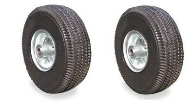 Pack Of 2 New Pneumatic 10 Air Tires 4.103.50 Hand Truck Wheels With 34 Id