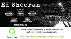 2 x Ed Sheeran Tickets 16/06/18 -- Read the ad description before replying!!